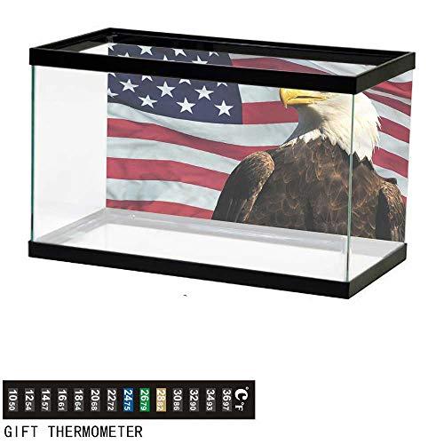 bybyhome Fish Tank Backdrop Eagle,US Flag Country Symbol,Aquarium Background,30