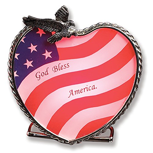 BANBERRY DESIGNS Patriotic Candle Holder American Flag and Bald Eagle Centerpiece 4th of July Decoration - God Bless America - Glass and Metal