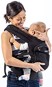 Mo+m Ergonomic Baby Carrier (Black) - Soft Structured Sling w/Mesh Cooling Vent, Hood & Pockets