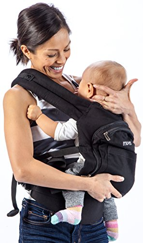 Mo+m Ergonomic Baby Carrier (Black) - Soft Structured Sling w/ Mesh Cooling Vent, Hood & Pockets