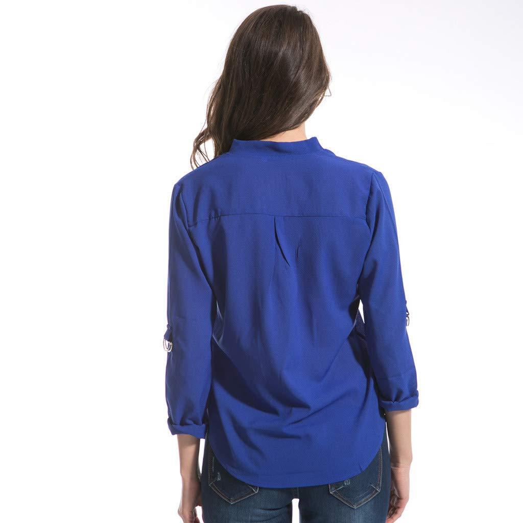 Keliay Cute Womens Tops Summer,Women Fashion S-6XL Long Sleeve Chiffon Shirt Tops V-Neck Casual Blouse Blue by Keliay (Image #5)