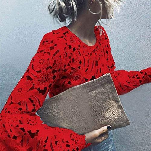 Manches Haut Blouse Mode Printemps Dentelle Col Rouge Uni Casual Manche Shirts Rond Bouffant Trompette Chemise Chic Jeune Creux Shirt Confortable Longues Femme Manches Top Elgante Chemisier pqxYvE