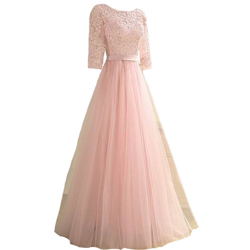 Kivary Sheer 1/2 Sleeves Tulle A Line Sash Long Prom Evening Dresses Plus Size Nude Pink US 18W