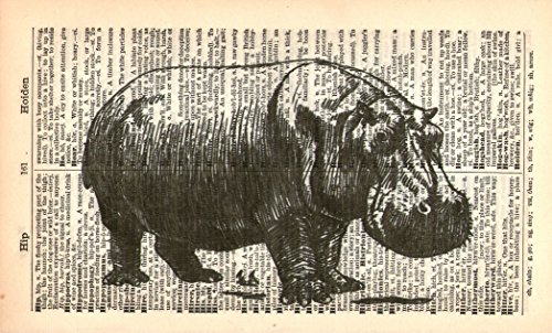 (HIPPOPOTAMUS ART PRINT - VINTAGE ART PRINT - Animal Art Print - HIPPO ART PRINT - Illustration - Vintage Dictionary Art Print - Wall Hanging - Home Décor - Housewares - Black & White Book Print 28A)
