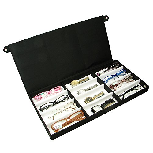 Eyewear Case for 12 Pairs Small/Medium Eyeglasses. Nylon Fabric - Holder Eyeglass Multiple Case