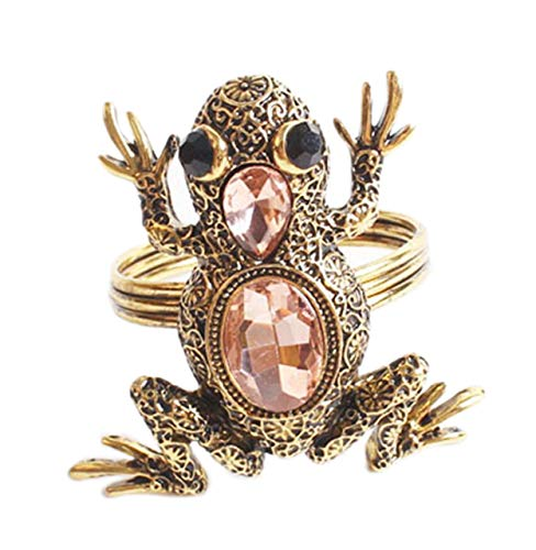 Fennco Styles Decorative Bejeweled Animals Design Napkin Rings - Set of 4 (Gold Frog)