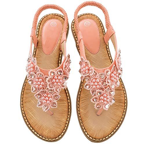 Ruiatoo Comfort Sandals for Women Bohemia T-Strap Ladies Summer Flats Sandals Rhinestone Flower Flip Flops Pink - Jeweled Pink Sandal