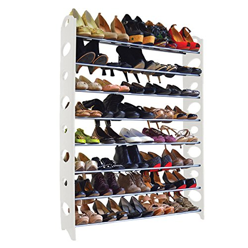 36 x 52 x 8 inches Indoor 40-pair White Shoe Rack Organizer by Maison Condelle