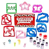 Sandwich Cutters for Children, with 9 Fun Bread Cutters, 8 Stainless Steel Vegetables Fruit Shapes/Cookie Cutters and 5 Animal Food Picks