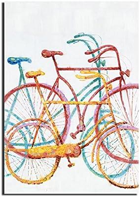 HUGUJH Color pintado a mano puro bicicleta impresión pintura al ...