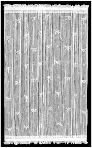 Heritage Lace Dragonfly 45-Inch Wide by 63-Inch Drop Door Panel, White