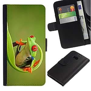 KingStore / Leather Etui en cuir / HTC One M8 / Verde feliz Naturaleza Animal Jungle