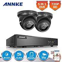 ANNKE 4CH Security Camera System HD 720P DVR Recorder and (2) 1.0MP 1280TVL Outdoor IP66 Weatherproof Dome Camera, All-weather Adaptation, Email Alert with Images, Smart Research Playback, NO HDD