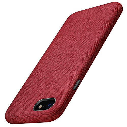 Fabric Back Cover - iPhone 7 Case, iPhone 8 Case, XUNDD Fabric Back Cover Minimalist Synthetic Canvas Styling with Shockproof Anti-Slip Anti-Scratch Slim for Apple iPhone 7/ iPhone 8 Red