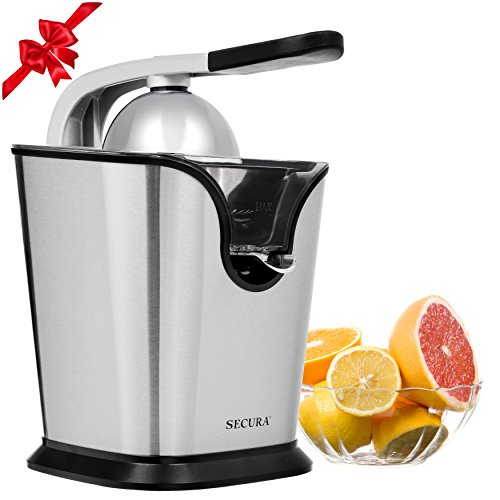 Electric Citrus Juicer Press | 160-Watt Stainless Steel Orange Juice Squeezer GS-405Y by Secura
