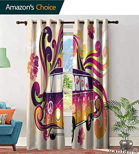 LQQBSTORAGE Custom Pattern Kitchen Curtains Valances Flower Power, Curtains for Bedroom, W108 x L108 Inch, (2 Panels)