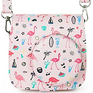 Woodmin Compatible Groovy PU Leather Camera Case with Shoulder Strap for Fujifilm Instax Mini 9 8 8+ Camera (Pink Flamingo)