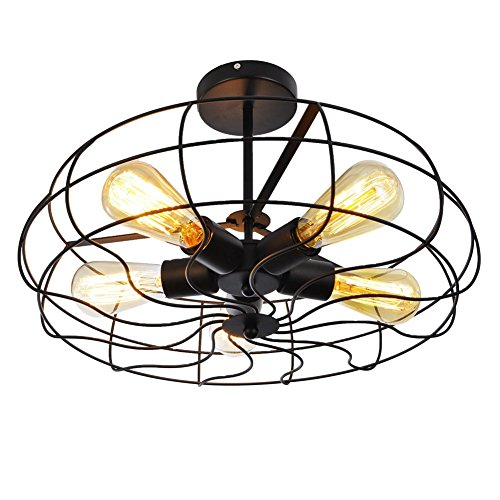 Ceiling Light, MKLOT Industrial Fan Style Wrought Iron Semi Flush Mount 21.26