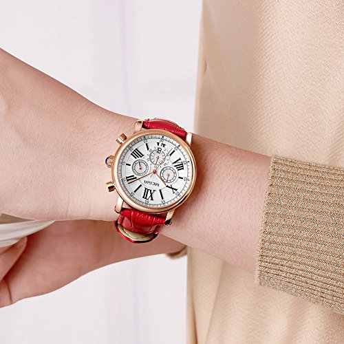 MEGIR Watches for Women Quartz Sport Chronograph Red Leather Strap Stylish Dress Wrist Watch by MEGIR (Image #4)