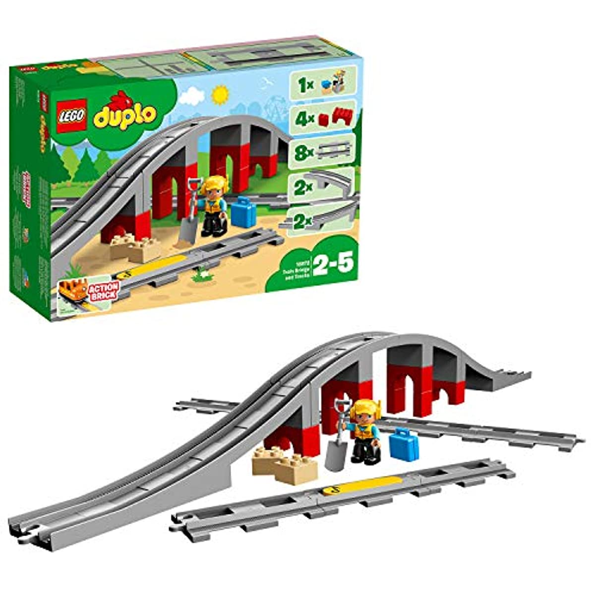 [해외] 레고(LEGO) 듀플로 놀예거 퍼진! 철도교와 레일 세트 10872 교육 완구 블럭 장난감 사내 아이 전철