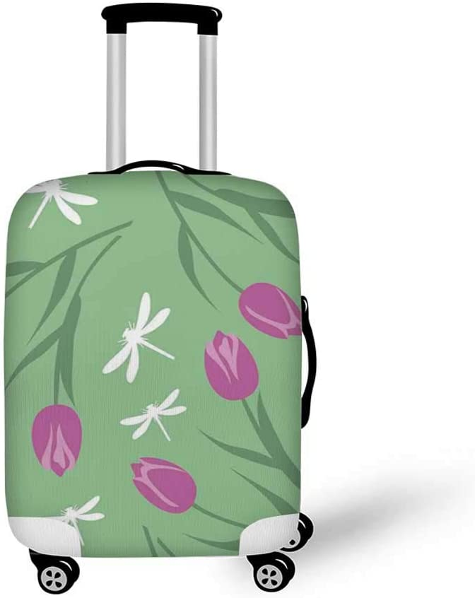 26.3W x 30.7H Dragonfly Stylish Luggage Cover,Traditional Japanese Painting with Lotus Blooms in Hazy Tones Asian Design Decorative for Luggage,L