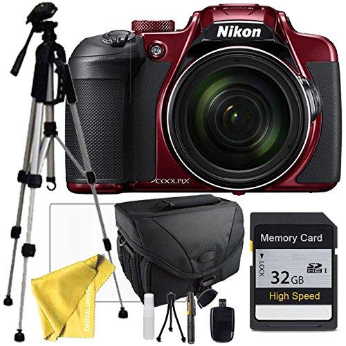 Nikon COOLPIX B700 Red Digital Camera, Full Size Tripod, Case,32GB SD SDHC Class 10 Memory Card, Lens Cleaning Pen, Usb Sd Card Reader - Tripod For Digital Camera Nikon