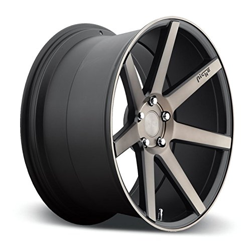 """19"""" Niche Verona M150 19x8.5 Front and 19x8.5 Rear Black & Machined with Dark Tint Concave Wheels Fits Acura Toyota 5x114"""