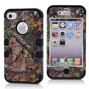 SHHR-HX4G92N Tree Camo Design Hybrid Cover Case for Apple iPhone4 4s 4G -Black Color