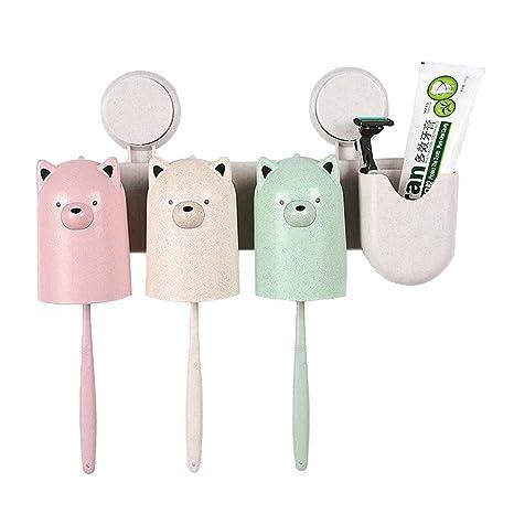 Cepillo de dientes y soporte de pasta de dientes Soporte de forma de oso lindo montado