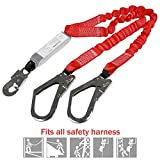 Dual Leg Stretch Lanyard w/Rebar, Fall Arrest Safety Harness Shock Resistant lanyard with energy absorption