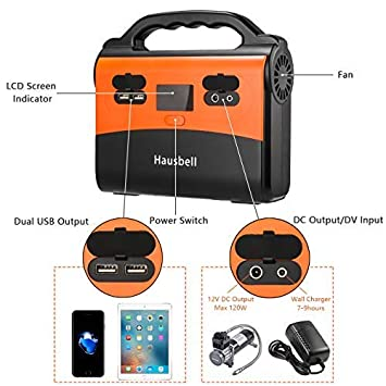 HAUSBELL Portable Power Station, 155Wh 42000mAh Camping Generator Power Inverter Battery, 120V 150W AC Outlet, 2 USB Outputs, Solar Generator for Camping, Emergency, Traveling