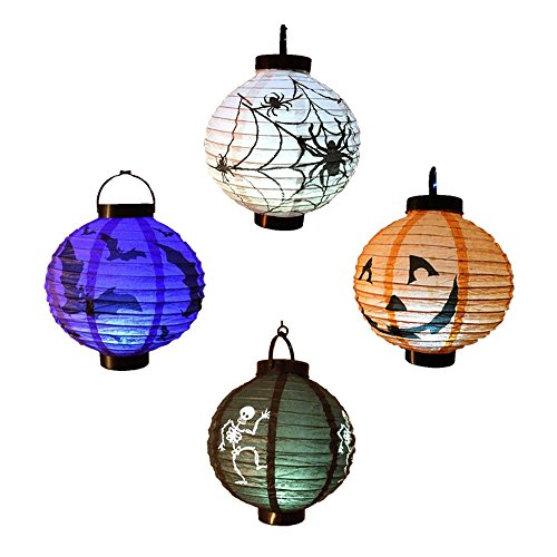 [LOHOME Pack of 4 Halloween LED Pumpkin Paper Lanterns - Skeletons / Bats / Jack-O / Spiders - Halloween Decorations Lights (Battery] (Halloween Cut Out Patterns For Pumpkins)