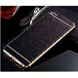 Excelsior Premium Silicon and leather back cover case for Vivo V5 - Black