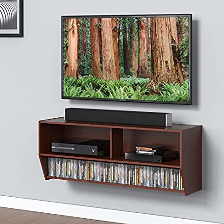 FITUEYES Wall Mounted Audio Video Console Wood Grain For Xbox One PS4 Vizio Sumsung Sony TV DS210301WB