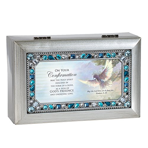(Cottage Garden Confirmation Holy Spirit Dove Brushed Silver Blue Jeweled Petite Music Box Plays We Have a Friend in Jesus)