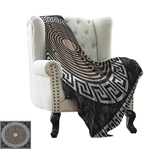 Throw Blanket for Couch Greek Key,Grecian Fret and Wave Pattern on Dark Background Antique Retro Swirls, Dark Brown Coconut Tan Super Soft Light Weight Cozy Warm Plush Hypoallergenic 60