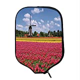 YOLIYANA Windmill Decor Durable Racket Cover,Colorful Pink Tulips Fresh Springtime Field European Historic Traditional Decorative for Sandbeach,One Size