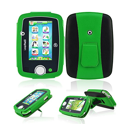 ACdream Leappad 3 Case, LeapPad 3 Protective Case - PU Leather Case for LeapFrog LeapPad3 Kids' Learning Tablet (Only Fit LeapPad 3 [2014 Version] NOT FIT LeapPad 2) - Green (Leappad 3 Accessories)