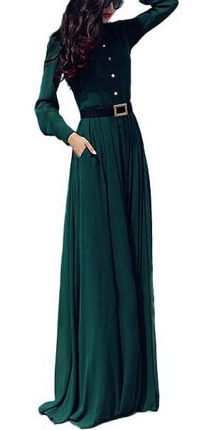 Smile YKK elegante mujer verde oscuro manga larga botones cinturón largo fiesta princesa vestido: Amazon.es: Ropa y accesorios