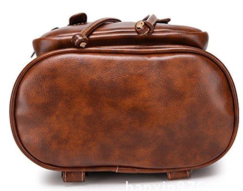 Tibes Mochila de cuero PU mochila de moda para las mujeres marrón