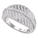 Designer Style Diamond Cocktail Ring Solid 10k White Gold Dome Band Fashion Round Cluster Style 3/8 ctw