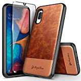 Galaxy A10E Case with Tempered Glass Screen Protector (Full Coverage), NageBee Premium Cowhide Leather Armor Defender Dual Layer Shockproof Hybrid Rugged Case for Samsung Galaxy A10E -Brown