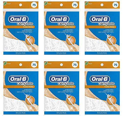 - Oral-B Complete Mint Flavored Floss Picks, 75 Count, 6 Pack, 450 Picks Total