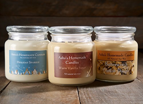 Soy Candles - Set of 3 - 16 oz. Apothecary Jars - Choose your scents! - Pumpkin Shortbread Cookies