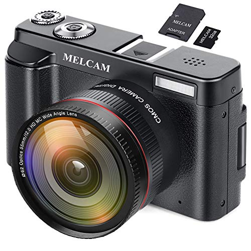 Digital Camera Video Camcorder, Full HD 1080P 24.0MP MELCAM YouTube Vlogging Camera with Wide Angle Lens and 32GB SD Card, 3.0″ Screen, WiFi Function, Face Detection, Flash Light, 16 Digital Zoom