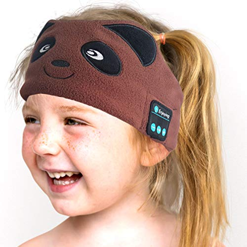 Kids Headphones,Bluetooth 5.0 Sleeping Eye Mask,Bear Wireless Hands-Free Call Soft Headband with Ultra-Thin Speakers and Mic Earphones for Girls Boys, School,Home,Travel