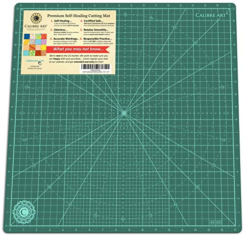 Calibre Art Self Healing Rotating Cutting Mat, Perfect for Quilting & Art Projects, 18x18 (17