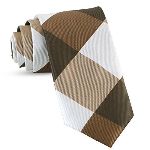 Handmade Plaid Ties For Men Skinny Woven Brown Slim Gingham Mens Ties: Thin Tie & Necktie, Stylish Neckties For Every ()