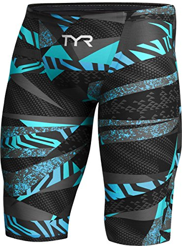 TYR APM6A Men's Avictor Prelude Jammer Swim Jammer, Black/Blue - 27 by TYR