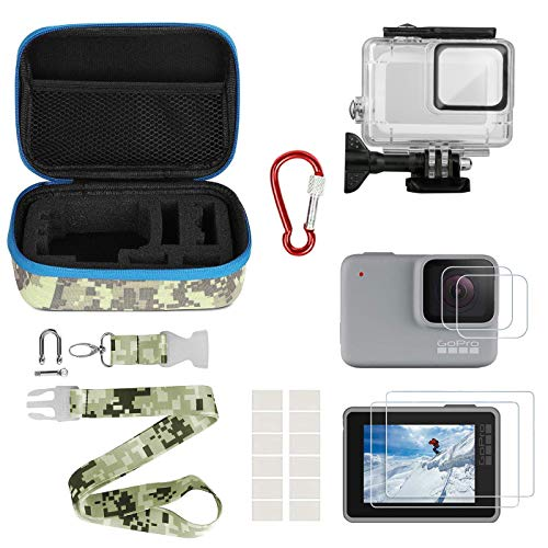 Waterproof Housing Kit - Kitspeed Accessories kit for GoPro Hero 7 White/Silver, Including Waterproof Housing Case/Portable Small Carrying case/Screen Protector/Carabiner/Camouflage Strap/Anti-Fog Insert